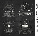 chalk birthday cards set | Shutterstock .eps vector #197616608