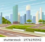 landscape of urban city park.... | Shutterstock .eps vector #1976190542