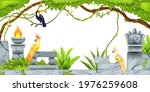 jungle tropical frame  ancient... | Shutterstock .eps vector #1976259608