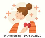 peaceful mind woman touching...   Shutterstock .eps vector #1976303822