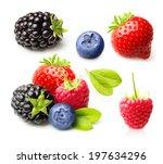 summer berry fruits. raspberry  ... | Shutterstock . vector #197634296