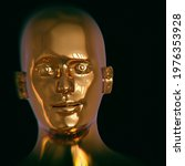 Futuristic Human Golden Head...