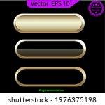 set of empty glass gold buttons ... | Shutterstock .eps vector #1976375198