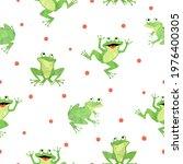 cute frog pattern. seamless...   Shutterstock .eps vector #1976400305