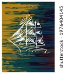 sketch of sailing ship. wall...   Shutterstock .eps vector #1976404145