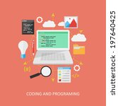 flat design concept  programing. | Shutterstock .eps vector #197640425