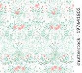 vector floral seamless pattern... | Shutterstock .eps vector #197641802