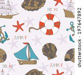 seamless pattern with summer... | Shutterstock .eps vector #197647892