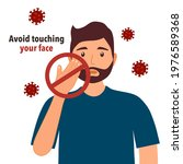 avoid touching your face to... | Shutterstock .eps vector #1976589368