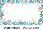 frame of fir branches and holly ... | Shutterstock .eps vector #1976611355