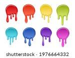 drip paint spot 3d set isolated ... | Shutterstock .eps vector #1976664332