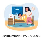 sad cute kid boy laying in his...   Shutterstock .eps vector #1976722058