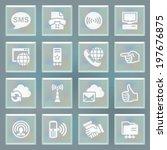 communication white icons on... | Shutterstock .eps vector #197676875