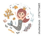 background with cute mermaid.... | Shutterstock .eps vector #1976773685