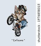 extreme slogan with cartoon cat ... | Shutterstock .eps vector #1976858315