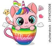 cute cartoon pink kitten with... | Shutterstock .eps vector #1976925008