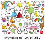collection of cute children's... | Shutterstock . vector #197696552