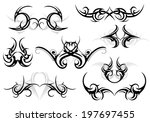 set of various tattoo shapes... | Shutterstock .eps vector #197697455