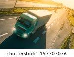 green truck in motion blur on...   Shutterstock . vector #197707076
