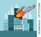 fire burning tower of city... | Shutterstock .eps vector #1977115268