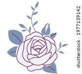 decorative pink rose silhouette ... | Shutterstock .eps vector #1977139142