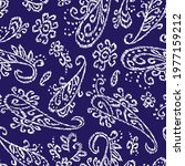 blue and white paisley seamless ... | Shutterstock .eps vector #1977159212
