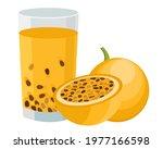yellow passion fruit  maracuya  ... | Shutterstock .eps vector #1977166598