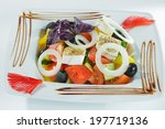 vegetable salad with cheese on... | Shutterstock . vector #197719136