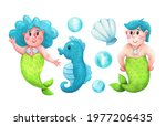 Mermaid And A Newt With Blue...