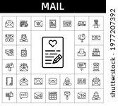 mail icon set. line icon style. ...