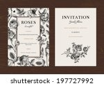 Stock vector floral vector vertical vintage invitation set black and white garden roses 197727992
