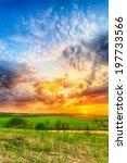 beautiful spring sunset over... | Shutterstock . vector #197733566
