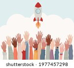 group arms and hands raised as...   Shutterstock .eps vector #1977457298