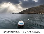 buoy and seagull floating at...   Shutterstock . vector #1977543602