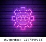 eye and gear neon icon. simple...