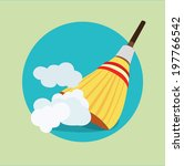 broom in dust clouds flat icon... | Shutterstock .eps vector #197766542
