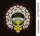 Alien Head In Indian Headdress...