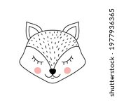 cute adorable fox in doodle... | Shutterstock .eps vector #1977936365