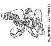 fantastic winged female sphinx. ... | Shutterstock .eps vector #1977985568