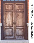 Old Wooden Brown House Door In...