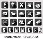 retro summer food and drinks... | Shutterstock .eps vector #197810255