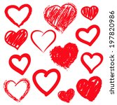 vector hearts set. hand drawn. | Shutterstock .eps vector #197820986