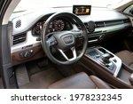 Small photo of Vinnytsia, Ukraine; May 22, 2021. Audi Q7 2017 S-line driver seat. Audi Q7 steering wheel. Audi Q7 interior. Audi Q7 dashboard. Editorial photo.