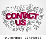 contact us phone customer... | Shutterstock . vector #197840588