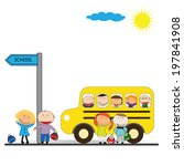 happy girls and boys back to... | Shutterstock . vector #197841908