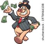 capitalist rich pig throwing... | Shutterstock .eps vector #1978466108