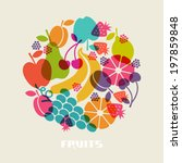 vector color fruits icon. food... | Shutterstock .eps vector #197859848
