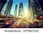 traffic in hong kong at sunset... | Shutterstock . vector #197867132