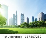 park in  lujiazui financial... | Shutterstock . vector #197867252