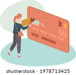 woman using credit card to...   Shutterstock .eps vector #1978713425